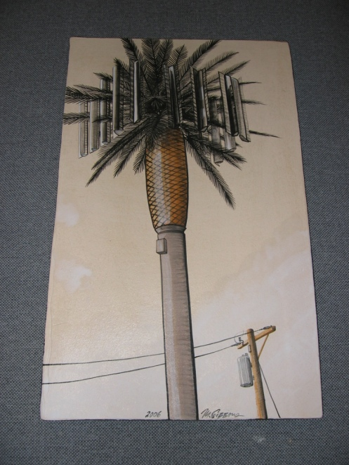 "Cell Phone Tower | Marcia Gibbons | 23""h x 14""w Tile"