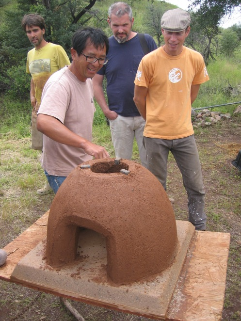 Kobayashi-san inspecting a student's Kamado clay oven.