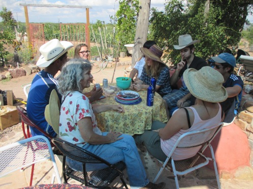 Well fed and relaxing after a day of threshing wheat, chopping compost, and planting elephant garlic.